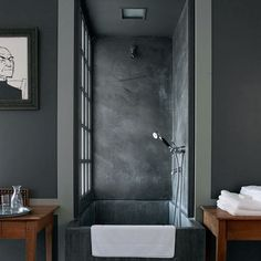 • interiors / layers of gray  i have been working a lot on bathroom layouts for various projects but something about this gray on gray space is very soothing - its defintely different than what most people want these days but that is why i love it.