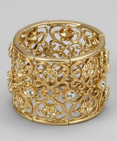 Take a look at this Gold Rhinestone Stretch Bracelet by Marlyn Schiff on #zulily today!