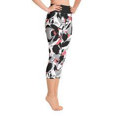 Black Floral Yoga Capri Leggings – SupremeLeggings Floral Leggings, Capri Leggings, Women's Leggings, Yoga Capris, Stretch Fabric, Catalog, Pajama Pants, Legs, Clothes