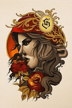 Title: Trophy Artist: Siege Made-to-order giclee fine art reproductions on canvas featuring the original artwork of today's hottest tattoo artists. Stretched and ready to hang. Museum gallery wrap ext