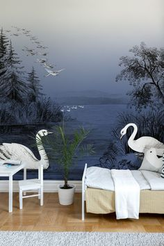 With elegance and refinement gorgeous white swans can often be seen gliding across the lake in the midnight blue twilight. Make it a feature wall in your living room for a modern graphic twist. Perfect wall decor for your lounge, living room, bedroom, or any other space you want to decorate in the dramatic midnight blue. Swan Wallpaper, Art Deco Wallpaper, Home Wallpaper, Textured Wallpaper, Beautiful Swan, Paper Houses, Swan Lake, Custom Wall, Nursery Room