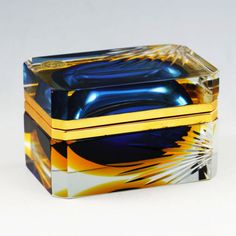 Vintage Italy Murano Bucella Crystal glass jewelry/trinket box