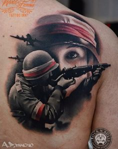 Soldiers are people who have left home loved ones and went to fight for the honor and freedom of their country. On all of them are waiting they mothers, fathers, wives and children to return. Do not let wars happen! Army Tattoos, Sleeve Tattoos, Soldier Drawing, Polish Tattoos, Piercings, War Tattoo, Patriotic Tattoos, Religion, American Tattoos
