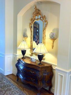 the ornate mirror is gorgeous...lamps may be a bit big...
