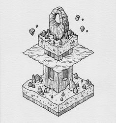 "2,934 Likes, 10 Comments - @thisnorthernboy on Instagram: ""Another recent isometric commission. Always love drawing weird standing stone type things.…"""