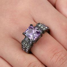 Princess Cut Purple Amethyst Wedding Ring Black Rhodium Plated Jewelry Size 8 See more details. Amethyst Wedding Rings, Black Wedding Rings, Amethyst Crystal, Purple Amethyst, Crystal Ring, Wedding Engagement, Engagement Rings, Black Rhodium, Princess Cut