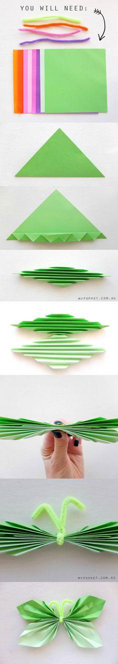 Folded Paper Butterfly mypoppet.com.au