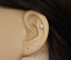 Sterling silver starfish stud earring, starfish earring, star cartilage, star tragus earring, cartilage earring, tragus stud by GreatJewelry4All on Etsy https://www.etsy.com/listing/204279754/sterling-silver-starfish-stud-earring