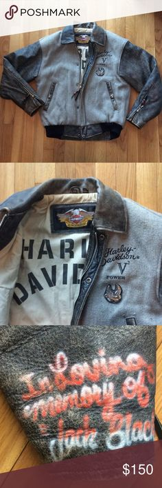 """AWESOME HARLEY DAVIDSON JACKET! Sweeeeeeet  Harley Davidson Jacket! Good condition, a little worn but gives character! There is """"in loving memory jack black"""" spray painted on wrist area. Have included picture but this Jacket is awesome! Harley-Davidson Jackets & Coats"""