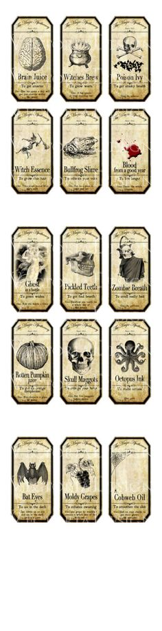 15 Large Halloween Apothecary Labels 4.5 x 2.23 by VectoriaDesigns