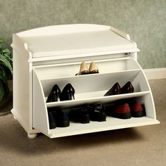 You're probably finding there are different versions of such type of furniture if you are interested in a shoe storage bench. Each version of the shoe storage bench has a different intended objecti. Small Shoe Bench, Small Shoe Rack, Best Shoe Rack, Shoe Rack Bench, Diy Shoe Rack, Bench With Shoe Storage, Hidden Storage, Storage Benches, Storage Ideas