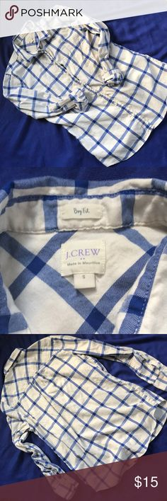 "J.Crew Flannel Shirt, Boy Fit Awesome button down shirt!  I love it, I just don't wear it enough. Super comfy and crazy versatile. Wonderful condition. Approx 18"" underarm to underarm, and approx 26"" length. Make me an offer on this gem. Clearing out my closet ✌🏻 J. Crew Tops Button Down Shirts"
