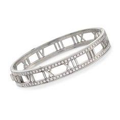 320b651c3 C. 2003 Vintage Tiffany Jewelry Atlas Diamond Bangle Bracelet In 18kt White  Gold. 6.25