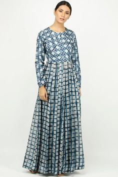 Blue and ivory thread work tie-dye print anarkali dress #Tie-Dye #Anarkali #Kurta #Printed #Dress #Designer #Chic #Casual #Trendy