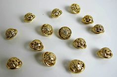 Vintage Gold Tone Metal small Buttons by BountyFromThePast on Etsy