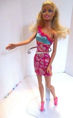 Barbie doll curly blonde hair Pink barbie dress & Pink high heels  #Barbie