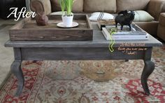 Grey Stained Wood Coffee Table