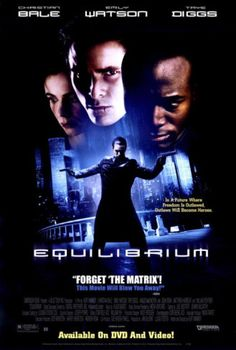 Equilibrium-In this movie people are forced to take a pill everyday that makes them not have any feeling or expressions. Everyone follows the same routine and if anyone fails to take their medication (which they can notice if the person smiles or laughs or is compassionate etc) They can be killed. This is a lot like 1984 because people in 1984 are completely controlled.Winston is a lot like the main character in this movie because the main character decides to not take his medicine on day.