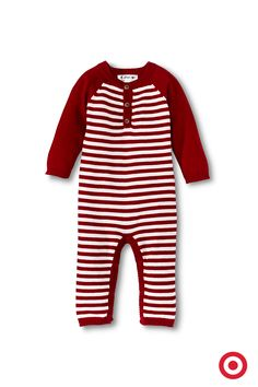 Guess who's going to look so sweet on Christmas morning? That's right, your baby boy. Dressed in Cherokee striped coveralls, he's sure to be comfy and cozy. These coveralls feature soft cotton jersey material with ribbed cuffs and a snap crotch for easy changing.