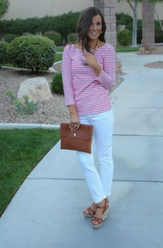 simple classic white jeans, pink striped shirt, love the brown wedges and fold-over clutch