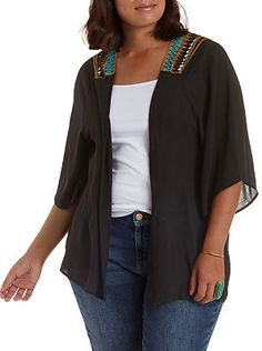 Plus Size Embroidered Back Kimono
