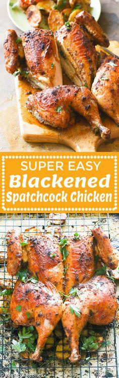 Blackened Spatchcock Chicken - Immaculate Bites Meat Recipes, Seafood Recipes, Chicken Recipes, Cooking Recipes, Healthy Recipes, Healthy Chicken, Turkey Recipes, Healthy Eats, Delicious Recipes