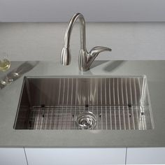 KRAUS All-in-One Undermount Stainless Steel 32 in. Single Bowl Kitchen Sink-KHU100-32 - The Home Depot