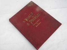 large antique Rand-McNally atlas w/color maps & photos 1906