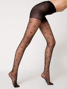 Sheer Luxe Small Bow Shapes Pantyhose | Shop American Apparel 30$