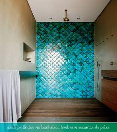 blue tiles in the bathroom