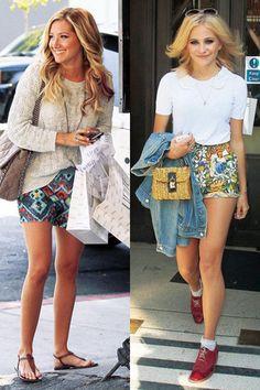 印花褲─短褲篇 示範女星:Ashley Tisdale、Pixie Lott 左:加入印花褲就能輕鬆將簡約單品穿出個性風格,散發目眩神迷的異國情調。 右:身穿充滿熱帶風情的印花褲,Pixie Lott反其道而行選擇迷你編織包,整體造型相當輕巧可愛。
