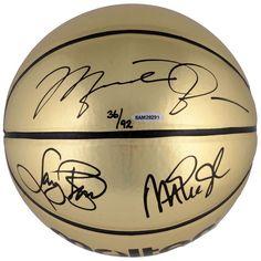 Michael Jordan, Larry Bird, Magic Johnson Autographed Molten Gold Basketball - Upper Deck