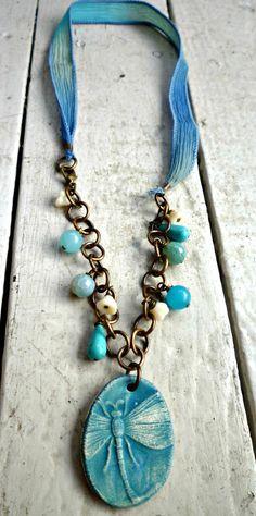 Teal aqua blue dragonfly necklace Vintaj by McKeeJewelryDesigns  <3 S-o-o-o pretty