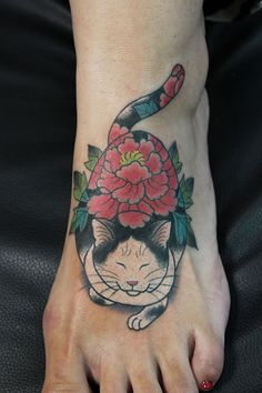Monmon Cat Tattoo by Horitomo