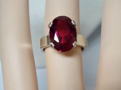 8ct red ruby 925 sterling silver ring 4 wide band size 5.5 USA made #Solitaire