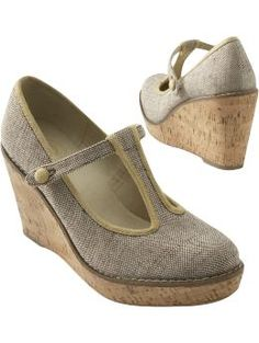 Women's T-Strap Cork Wedges: French-Inspired Fashions | Old Navy