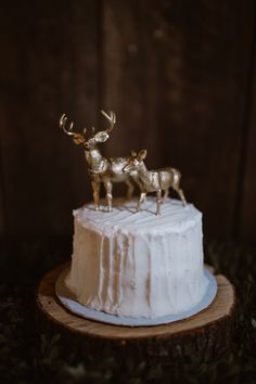 White buttercream cake with gold woodland figurines.   Where to get married in the Smoky Mountains