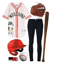"""""""Halloween: Baseball player"""" by prettyorchid22 ❤ liked on Polyvore featuring Moschino, Frame Denim, Mizuno, Go Under and EASTON"""