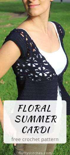 Embrace your feminine side with the Crochet Floral Summer Cardi. A short-sleeved cardi with a flower pattern that makes for a stunning layering piece. Crochet Buttons, Crochet Shirt, Crochet Vests, Crochet Bolero Pattern, Crochet Edgings, Crochet Motif, Crochet Patterns, Crochet Summer Tops, Crochet Womens Tops