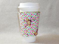 Adorable Polka Dot and Monkey Slide-On Coffee Cozy