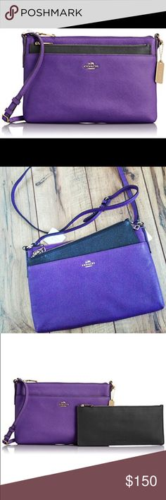NWT Coach Leather Swingpack with Pop-up Pouch Got this as a gift but purple/violet is not my favorite color! New with tags. Super cute cross body bag! Coach Bags Crossbody Bags