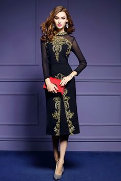 >> Click to Buy << Slim Mid-Calf Dress Black Women Sexy Dress Embroidery Stand Lace Dresses Evening Party Dresses Straight Split The Fork DYD24 #Affiliate