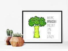 Home decor - print art - wall art - drawing - art print - print - Maybe broccoli doesn't like you either - broccoli illustration by madeinhappy on Etsy Drawing Art, Art Drawings, Make Happy, Broccoli, Like You, Original Artwork, Looks Great, How To Draw Hands, Place Card Holders