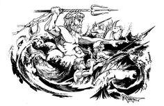 Poseidon and entourage (AD&D Deities & Demigods, TSR, 1980)