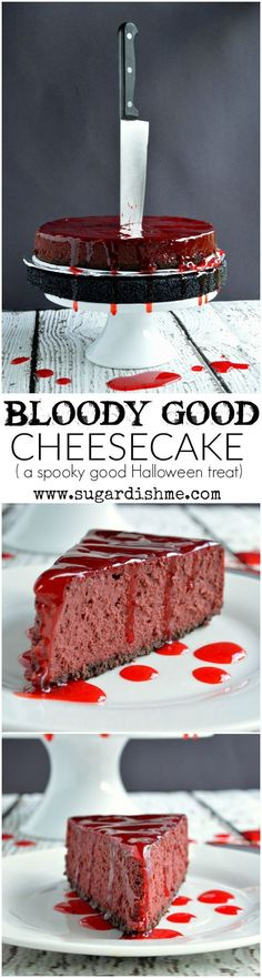 This Bloody Good Cheesecake Recipe is the spookiest Halloween treat that is sure to be the scary centerpiece of your party! This Bloody Good Cheesecake Recipe is the spookiest Halloween treat that is sure to be the scary centerpiece of your party! Halloween Desserts, Halloween Donuts, Hallowen Food, Halloween Dinner, Halloween Goodies, Halloween Food For Party, Halloween Halloween, Halloween Centerpieces, Diy Halloween Decorations Scary