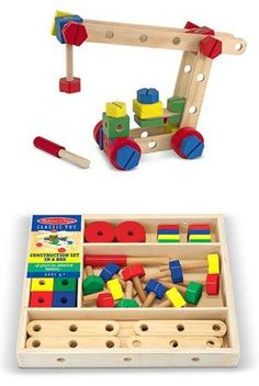 {Construction Building Set in a Box} With 48 wooden pieces (including nuts, bolts, drilled bars to connect, and a child-size screwdriver), this classic building set gives kids all they need to tinker and build! *Ask your local toy retailer if they have it in stock!