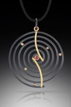 Curved Spiral Pendant by Ilene Schwartz (Gold, Silver, & Stone Necklace) | Artful Home