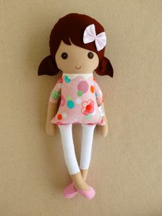 Fabric Doll Rag Doll Brown Haired Girl Modern Pink Red and Blue Polka Dotted Floral Dress