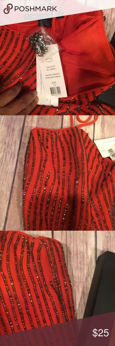 NWT French Connection Sequin Orange Dress Size 10 Never worn!great holiday dress for someone that wears a size 10 and can do a simple fix. The dress includes extra sequins to repair 2 areas. Fully lined and spaghetti straps. Has some ruffles at the bottom which gives body to the dress. Great for the holidays! French Connection Dresses