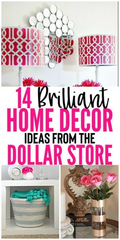 14 Must See Home Decor Ideas From The Dollar Store - Organization Obsesssed Looking for a brilliant, easy, and cheap way to decorate your home? Check out these 14 home decor ideas from the Dollar Store! Diy Home Decor Rustic, Diy Home Decor Easy, Diy Home Decor Bedroom, Cute Home Decor, Handmade Home Decor, Budget Bedroom, Teen Bedroom, Diy Home Decor For Apartments, Diy Apartment Decor